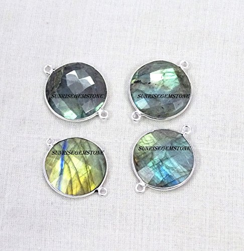 Devgemsandjewels Natural Labradorite Faceted Round Shape 19 mm approx 925 Silver Plated Double Bail Bezel Charm Connector 50 pcs.