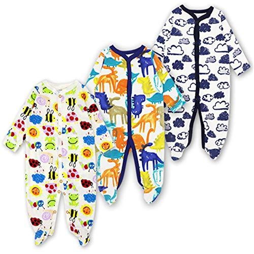 - LIMURURU Baby Footed Pajamas Sleeper 3 Packs Infant Girls Boys Newborn Cotton Long Sleeve Jumpsuit Sleepwear Romper Bodysuit Infant Clothing (Tag 12M(10-12 Months), Frog-Dinosaur-Cloud)