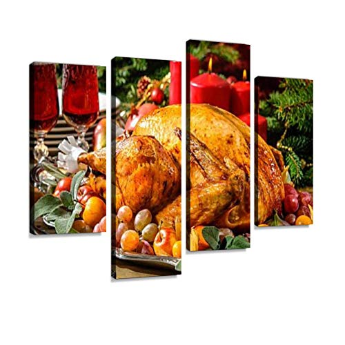 Roasted Turkey on Holiday Table Canvas Wall Art Hanging Paintings Modern Artwork Abstract Picture Prints Home Decoration Gift Unique Designed Framed 4 Panel