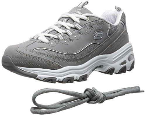 Skechers womens D'LITES ME TIME WIDE Memory Foam Lace-up Sneaker,Grey/White,8 W US