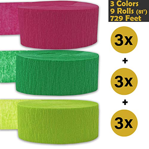 Crepe Party Streamers, 9 rolls, 3 Colors, 739 ft - Hot Pink + Emerald Green + Lime Green - 243' per color (3 rolls per color, 81 foot each roll) - For party Decorations and Crafts - Flame Resistant, Bleed Resistant, Made in USA