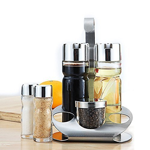 Caddy Cruet (Olive Oil and Vinegar Bottle Set of 5- Glass Cruet Set Includes Small Salt/Pepper Shakers with Stainless Steel Rack , Olive Oil Dispenser Carafe Decanter for Restaurants,Kitchen)