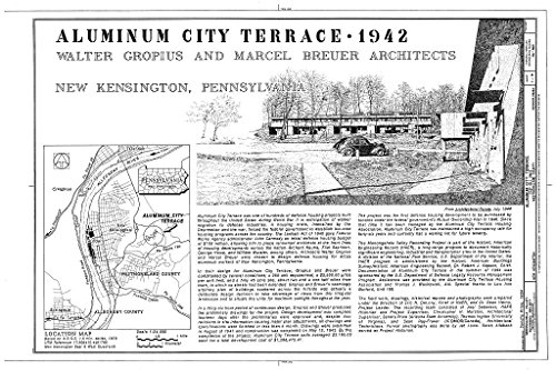 Historic Pictoric Blueprint Diagram Title Sheet, Location Map - Aluminum City Terrace, East Hill Drive, New Kensington, Westmoreland County, PA 44in x 30in
