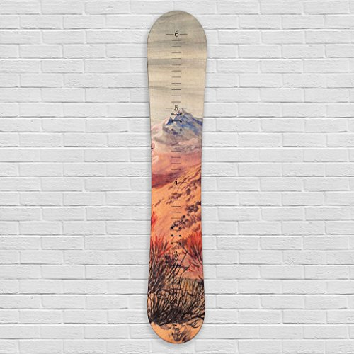 Growth Chart Art | Wooden Snowboard Height Chart for Kids, Boys, Girls for Measuring Height of Kids, Nursery Wall Decor | Baby Snowboard | (Snowboard Boot Chart)