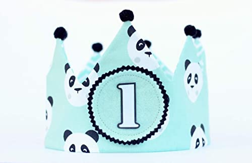 Corona de cumpleaños niño con tela dibujos de panda, corona ...