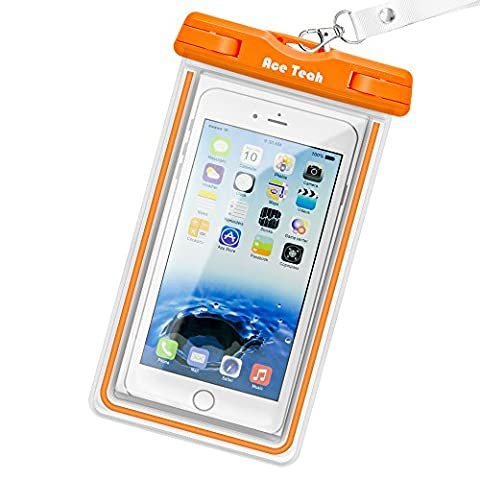 Waterproof Case, Ace Teah Clear Universal Waterproof Case, Dry Bag, Pouch, Transparent Snowproof Dirtproof Protective Cover for iPhone 8, 7, 6S, 6 Plus X Samsung Galaxy S7 S6 edge, Note 5 4 - (Cover De Samsung Galaxy 5s)