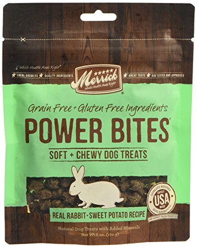 Merrick Power Bites Dog Treats, Real Rabbit and Sweet Potato Recipe,6oz. Bag,pack of 1