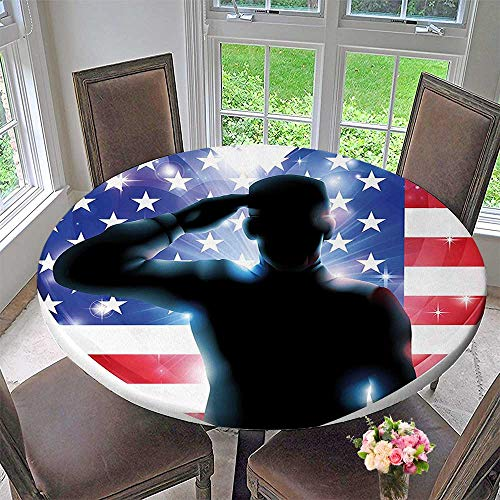 Mikihome Round Fitted Tablecloth July Decor Funny French Bulldog with Sunglasses in American Costume Hiding Graphic Art for All Occasions 67
