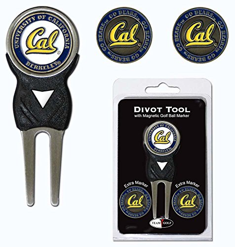 California Bears Golf - Team Golf NCAA California Golden Bears Divot Tool with 3 Golf Ball Markers Pack, Markers are Removable Magnetic Double-Sided Enamel