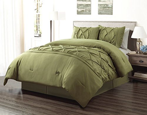 Stripe Sage Green (3 Piece QUEEN size Solid SAGE GREEN Double-Needle Stitch Puckered Pinch Pleat Stripe All-Season Bedding-Goose Down Alternative Comforter Set)