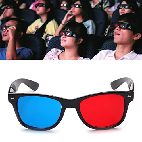 Yeefant Red Blue Universal Type 3D Glasses TV Movie Dimensional Vision Ultimate Anaglyph Video Frame DVD,Made To Fit Over Prescription Glasses