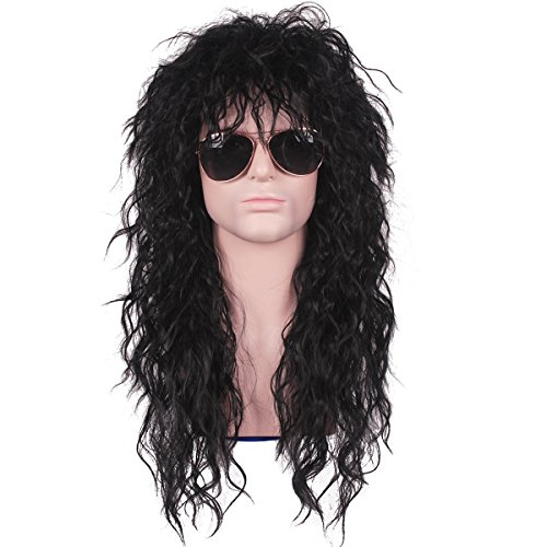 TSNOMORE Mens 80s Wigs Costumes Male Wig Punk Heavy Metal Mullet Wig Black Curly Long (Wavy) (Rockers Tommy)