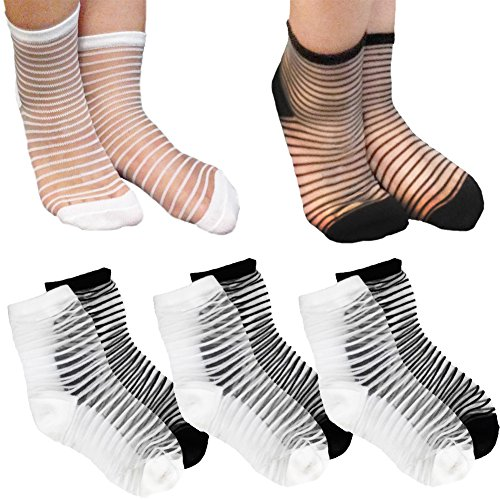 (Ultra-Thin Transparent Mesh Ankle High Socks; Crystal Silk Elastic Anklet (Pack of 6 Pairs))