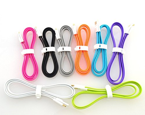 Ewelldone 8pcs/lot Colorful Magnet Cute Durable 3Ft Foot Feet 1M Meter Portable Travel Flat Micro USB 2.0 Data Sync Charging Cable Cord For Samsung ,HTC , Nokia, Blackberry Z10, Sony Xperia (8pcs/lot)