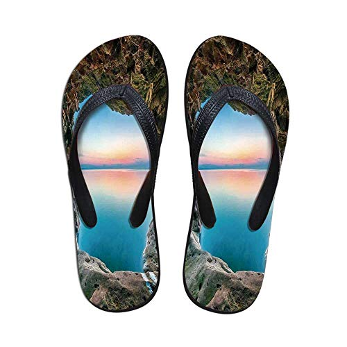 Natural Cave Decorations Wear Resisting Flip Flops,Fairy Image of The Horizon Inside Hidden Grotto Upper Paradise Point Tranquil Life for Indoor & Outdoor,US Size 6