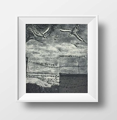 Fine art etchings, Etching print, Original prints, Black and white art, Original art, Indian art, Bird art print, Wall art, 'Calcutta Skies'