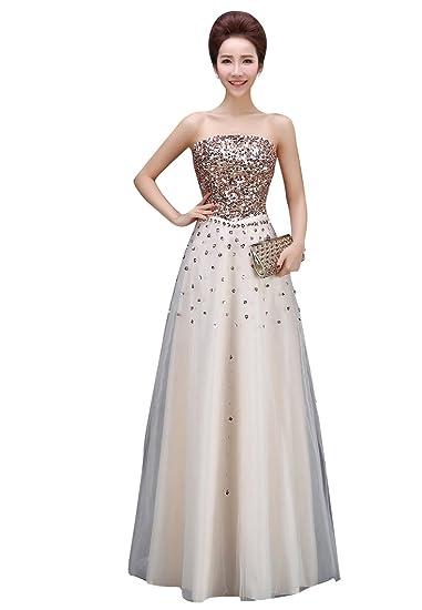 Beauty-Emily Maxi A-Line Off The Shoulder Sequins Tulle Elegant Formal Evening Dresses