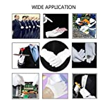 "White Cotton Gloves,Fashionclubs Hand Spa Glove for Cosmetic Moisturizing,8.6"" Stretchy Wrist Thicker Work Gloves for Coin Jewelry Silver Inspection,Uniform Formal Guard Parade Gloves,12 Pairs"