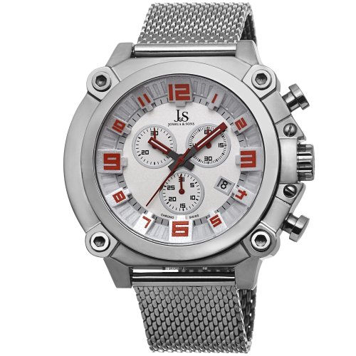 Joshua & Sons Men's JS58SSW Silver Multifunction Swiss Quartz Watch With White Dial and Silver Mesh Bracelet (Polished Dial White)