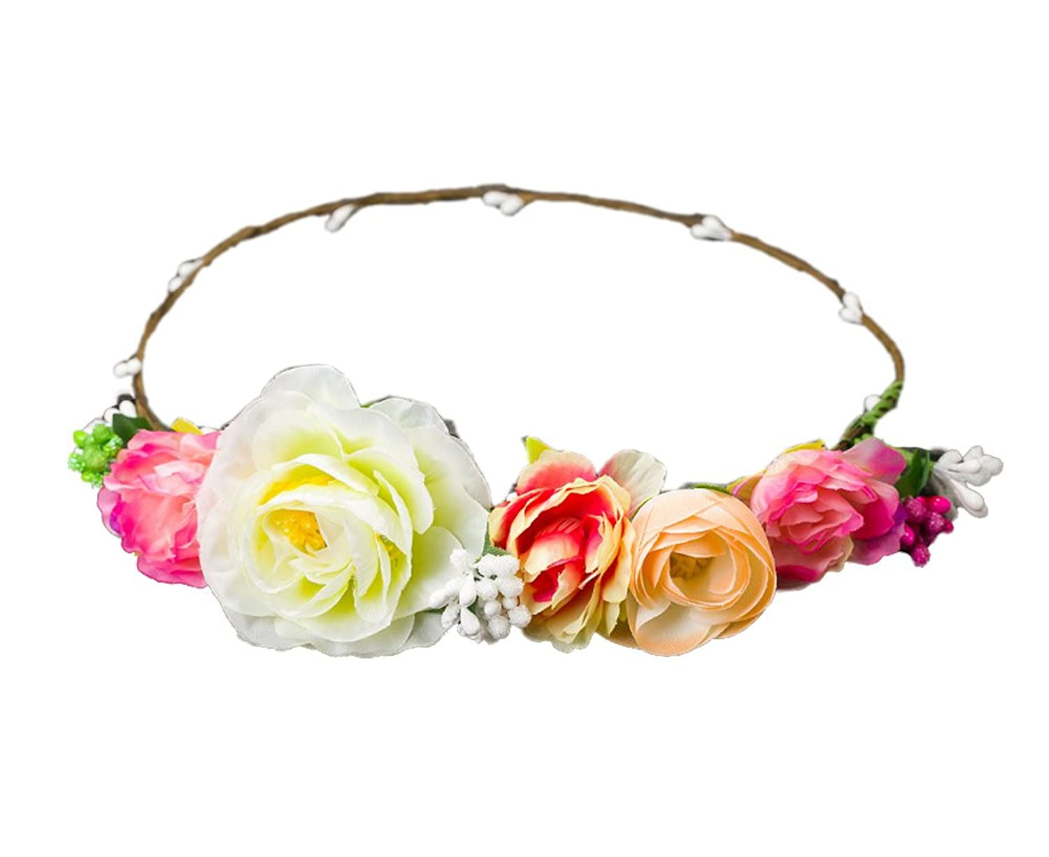 Merroyal Flower Head Crown Wreath Headband Fascinator Wedding Garland Festival Beach
