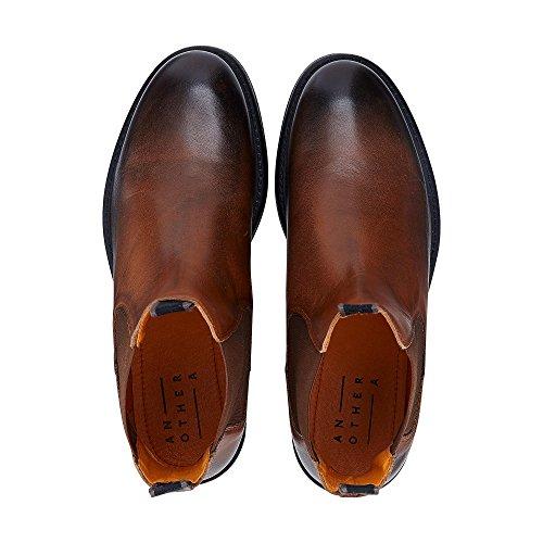 Another A Herren Chelsea-Boots Aus Leder, Braune Stiefel mit Robuster Laufsohle Braun Leder 43