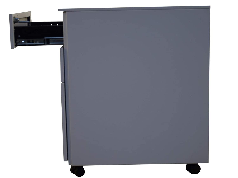 Jet-line Stahl Rollcontainer Schubladenelement auf Rollen Metall 3 Schubladen H/ängeregistratur Abschie/ßbar B/üroschrank Schrankkorpus Vormontiert Grau 39 Breit cm x 52 cm Tief x 60 cm hoch