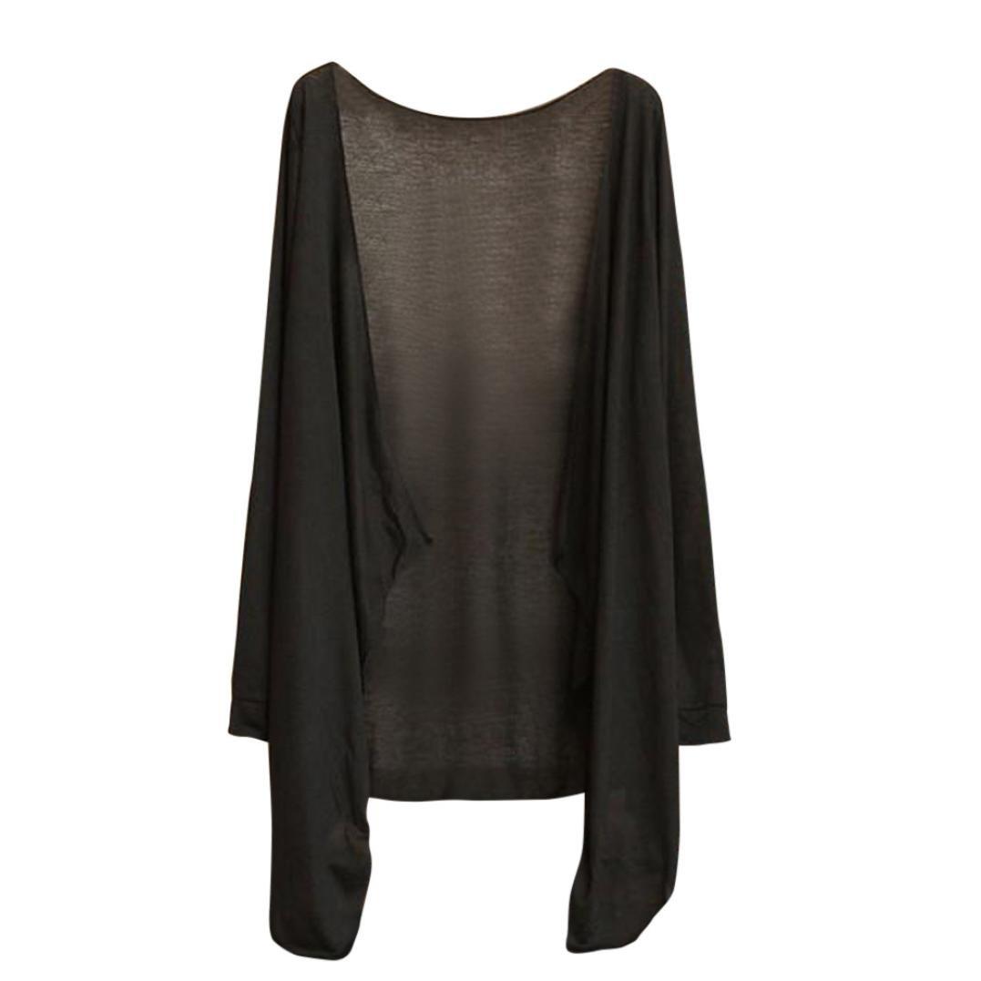 Toamen Petite veste chle Femmes, Gilet de climatisation Vêtements de Protection solaire Longue sectionsolaire Manche longue Transparent Svelte Été (C)