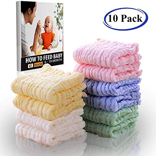 Premium Baby Washcloths and Towels for Sensitive Skin, 100% Organic Cotton Muslin Baby Burp Cloths, Baby Shower Towels, 10 Pack 10 x 20 inch,6 Layers Extra Absorbent Organic Cloth Diapers