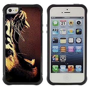 "Pulsar iFace Series Tpu silicona Carcasa Funda Case para Apple iPhone SE / iPhone 5 / iPhone 5S , Los dientes del tigre Rugido Boca abierta Arte Dibujo"""