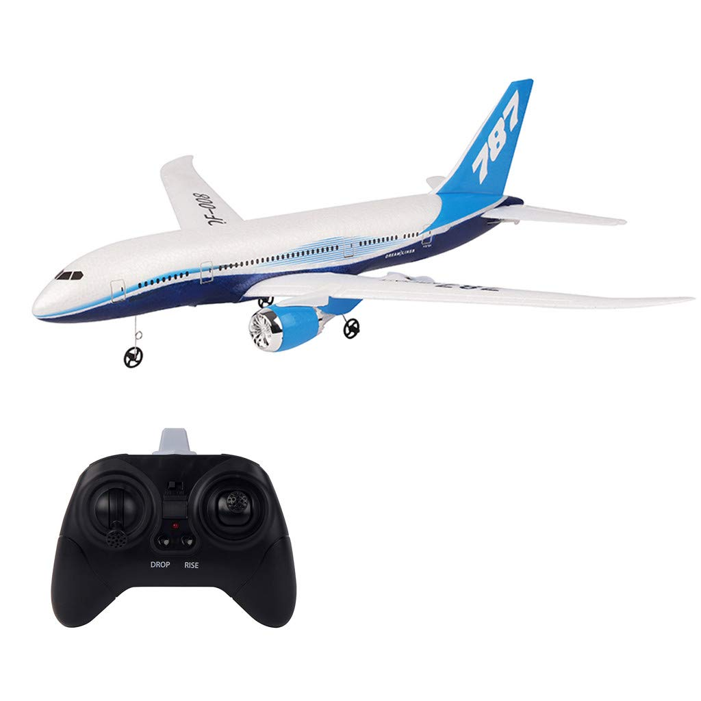 ChainSee Remote Control Airplane - QF008 B787 2.4Ghz 3CH 550mm Wingspan 6-Axis Gyro with Light Bar RC Airplane RTF Ready to Fly, Stability Flight RC Aircraft for Beginner