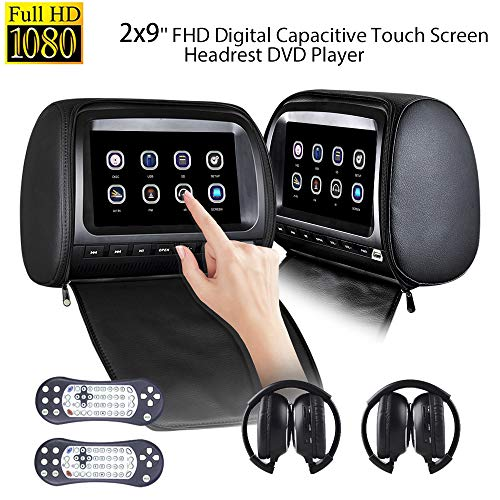 Dual Headrest DVD Player 9 inch for Car Backseat Video Monitor Auto Rear Seat Entertainment System Touch Screen 1080P with DVD USB SD 2pcs Free IR Headphone (Headrest Dvd Black)