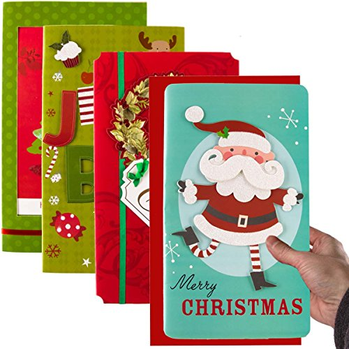 Paper Craft (Set of 4) Jumbo Christmas Holiday Greeting Cards with Envelopes