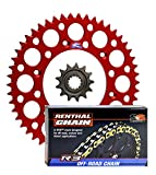 Renthal Grooved Front & Ultralight Rear Sprockets & R3 O-Ring Chain Kit -14/50 RED - Honda CRF250R, CRF250X