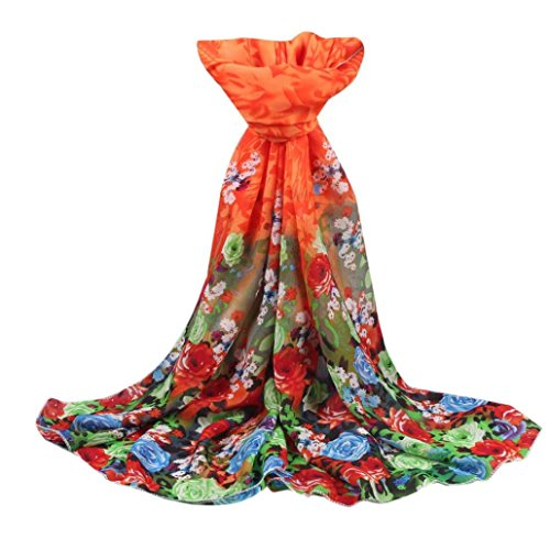 keepwin Womens rosas Impreso Bufandas ligero largo gasa Sheer Wrap chal bufanda, mujer, azul naranja