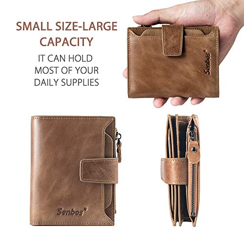 1d4ab6091054 Senbos Mens Wallet Brown Genuine Cowhide RFID Blocking Soft Leather Wallet  for Valentine's Day Father's Day