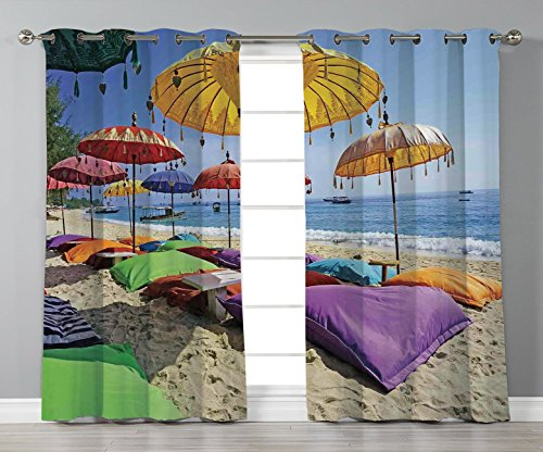 Track Bali Panel (iPrint Stylish Window Curtains,Balinese Decor,Pristine Beach Bathed by the Bali Sandy Seashore Daytime Umbrellas Pillows Leisure,2 Panel Set Window Drapes,for Living Room Bedroom Kitchen Cafe)