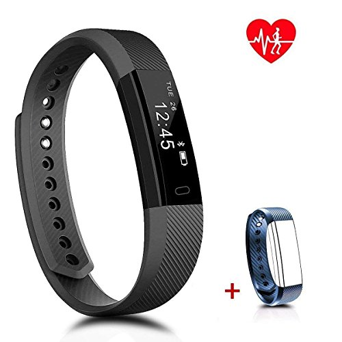 PINGKO Fitness Tracker,Fitness Watch with Heart Rate Monitor,Activity Tracker,Waterproof Smart Bracelet with Step Counter,Sleep Monitor,Pedometer Watch for Android iOS Phone