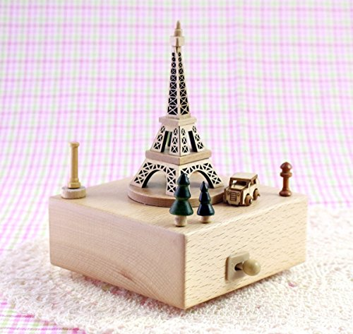 Delightful Quality Wooden Musical Box Featuring Iconic Eiffel Tower with Small Moving Magnetic Car   Plays ''Encounter'' Song by JustNile (Image #3)