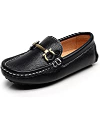 Boy's Girl's Slip On Buckle Dress Leather Loafers Shoes