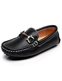 Shenn Boy's Girl's Slip On Buckle Dress Top Quality leather Loafers Shoes