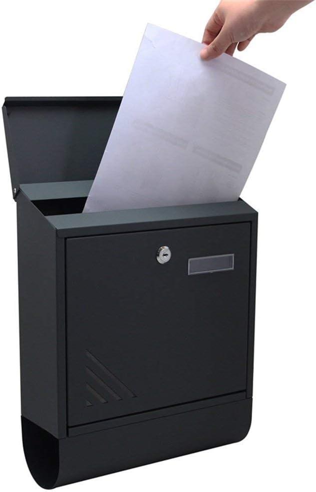 Typ G AUFUN Briefkasten Anthrazit mit Zeitungsfach Modern Wandbriefkasten mit Zeitungsrolle Design Post Edelstahl Mailbox Wetterfest Postkasten Gro/ß Elegant