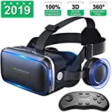 VR Shinecon Vr Headset with Remote Controller[New Version], 3D Glasses Virtual Reality Headset for VR Games & 3D Movies, Eye Care System for iPhone and Android Smartphones