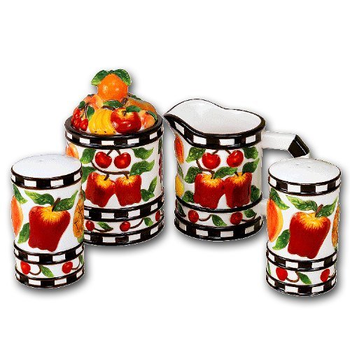 Ceramic Mix Fruit - Ceramic Mix Fruit Table Top Sugar Creamer Salt Pepper Set