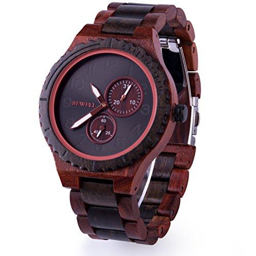 BEWELL Men Wood Watch Quartz Date Vintage Handmade Analog Wrist Watches W154A (Red and Black Sandalwood)