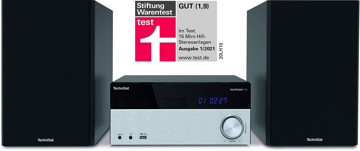 Transita - Minicadena (Dab+, FM, Reproductor de CD, Bluetooth, Mando a Distancia) Negro/Plata