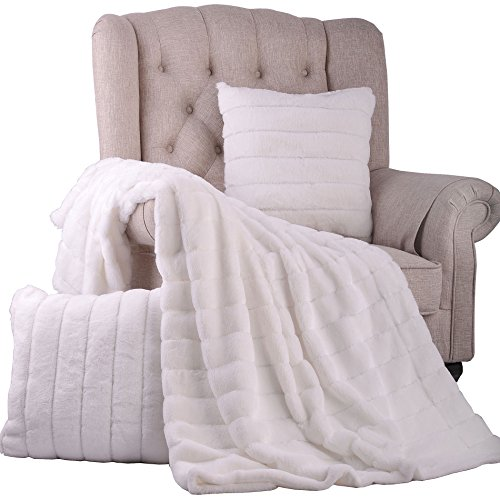 """BOON Rabbit Fur Throw with 2 Pillow Combo Set, 60"""" for sale  Delivered anywhere in USA"""