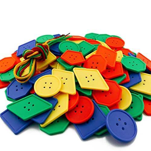 DLOnline 120 PCS Button Puzzle Toy,Big Button Threading Toy,Button Lacing Toy,Button Toys,Big Bag of Buttons,Buttons Assorted,Bright Buttons,Plastic Buttons ()