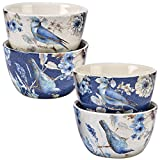 Indigold Bird Ceramic 5.5-inch x 3-inch Assorted Designs Ice Cream Bowls (Pack of 4)