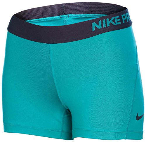 "Nike Women's Dri-Fit Pro 3"" Compression Training Shorts-Teal/Navy-Small"