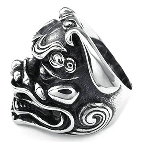 Stainless Steel Ring for Men, Exorcise Maske Ring Gothic Black Band Silver Band 33MM Size 9 Epinki